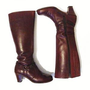 Vintage 70's Dexter Oxblood Campus Knee High Boots